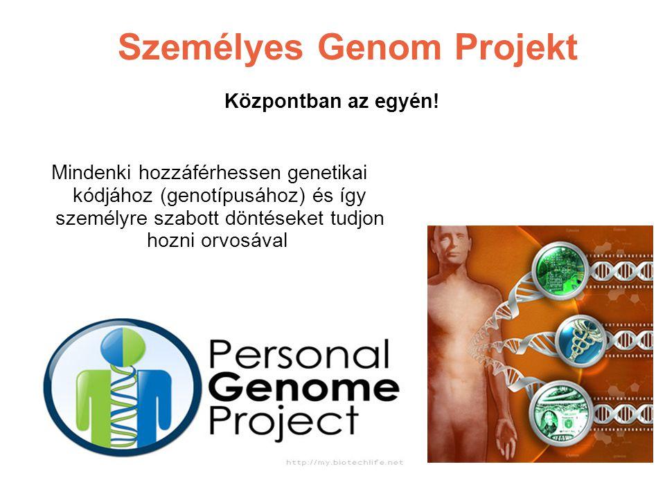 Személyes Genom Projekt Központban az egyén! Mindenki hozzáférhessen genetikai kódjához (genotípusához) és így személyre szabott döntéseket tudjon hoz