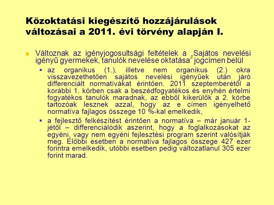 Közoktatási kiegészítő hozzájárulások változásai a 2011.