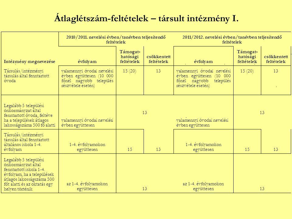 Átlaglétszám-feltételek – társult intézmény I. Intézmény megnevezése 2010/2011.