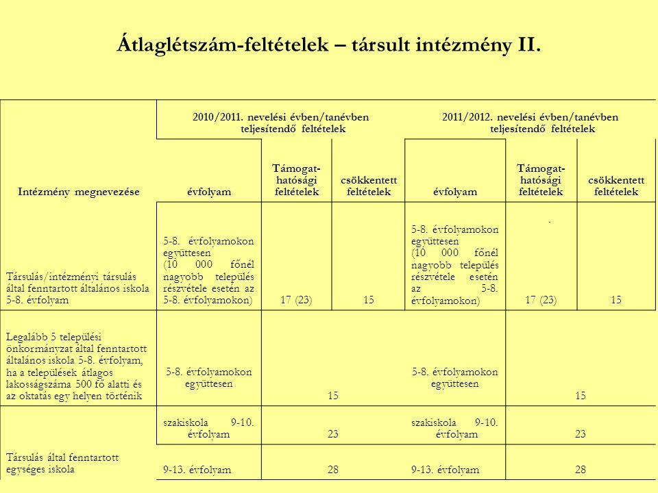 Átlaglétszám-feltételek – társult intézmény II. Intézmény megnevezése 2010/2011.