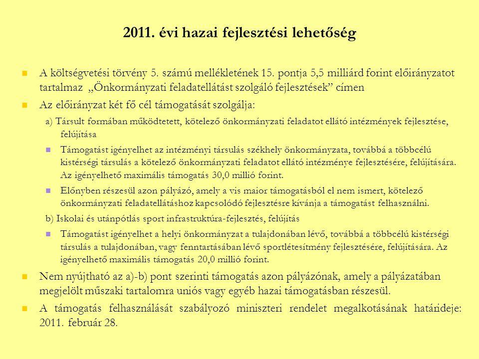2011. évi hazai fejlesztési lehetőség  A költségvetési törvény 5.