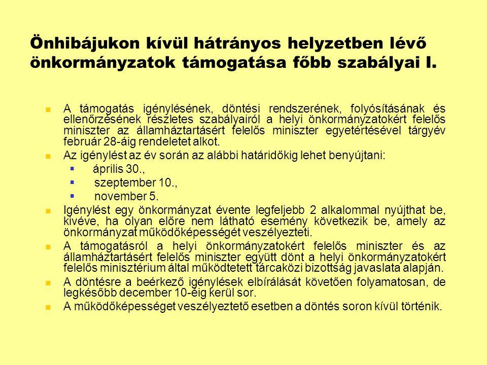 Önhibájukon kívül hátrányos helyzetben lévő önkormányzatok támogatása főbb szabályai II.
