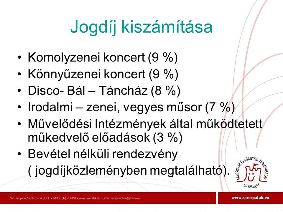 Jogdíj kiszámítása •Komolyzenei koncert (9 %) •Könnyűzenei koncert (9 %) •Disco- Bál – Táncház (8 %) •Irodalmi – zenei, vegyes műsor (7 %) •Művelődési