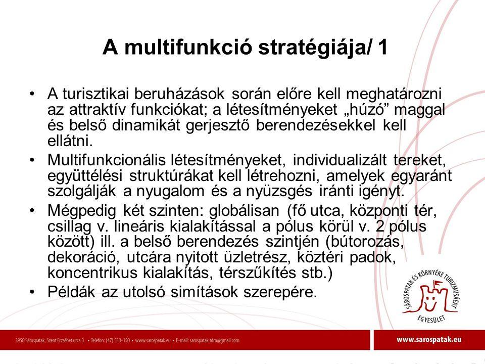 """A multifunkció stratégiája/ 1 •A turisztikai beruházások során előre kell meghatározni az attraktív funkciókat; a létesítményeket """"húzó"""" maggal és bel"""
