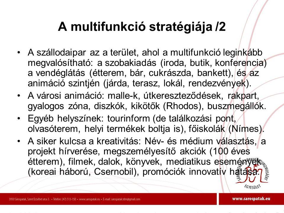 A multifunkció stratégiája /2 •A szállodaipar az a terület, ahol a multifunkció leginkább megvalósítható: a szobakiadás (iroda, butik, konferencia) a