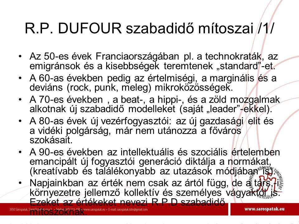"""R.P. DUFOUR szabadidő mítoszai /1/ •Az 50-es évek Franciaországában pl. a technokraták, az emigránsok és a kisebbségek teremtenek """"standard""""-et. •A 60"""