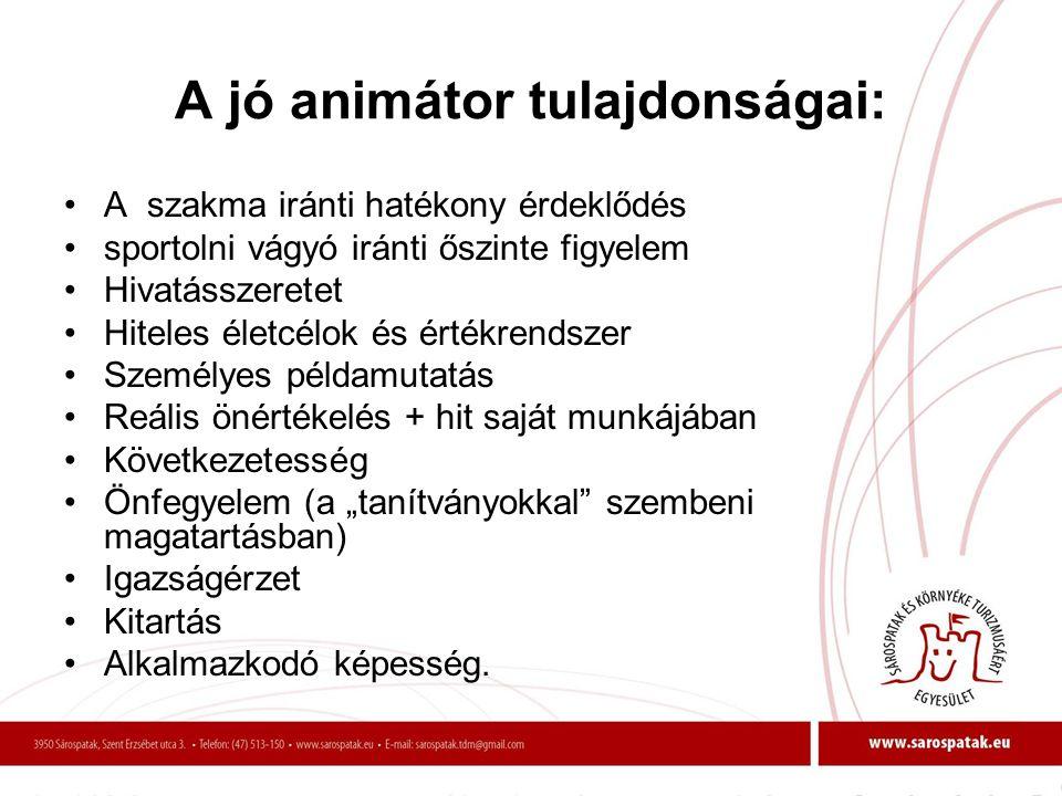 A jó animátor tulajdonságai: •A szakma iránti hatékony érdeklődés •sportolni vágyó iránti őszinte figyelem •Hivatásszeretet •Hiteles életcélok és érté