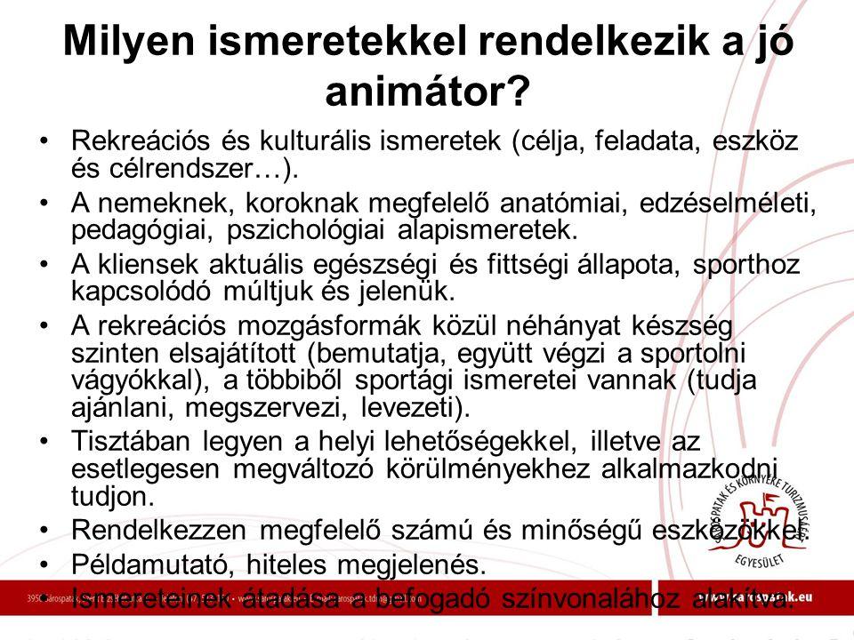 Milyen ismeretekkel rendelkezik a jó animátor? •Rekreációs és kulturális ismeretek (célja, feladata, eszköz és célrendszer…). •A nemeknek, koroknak me