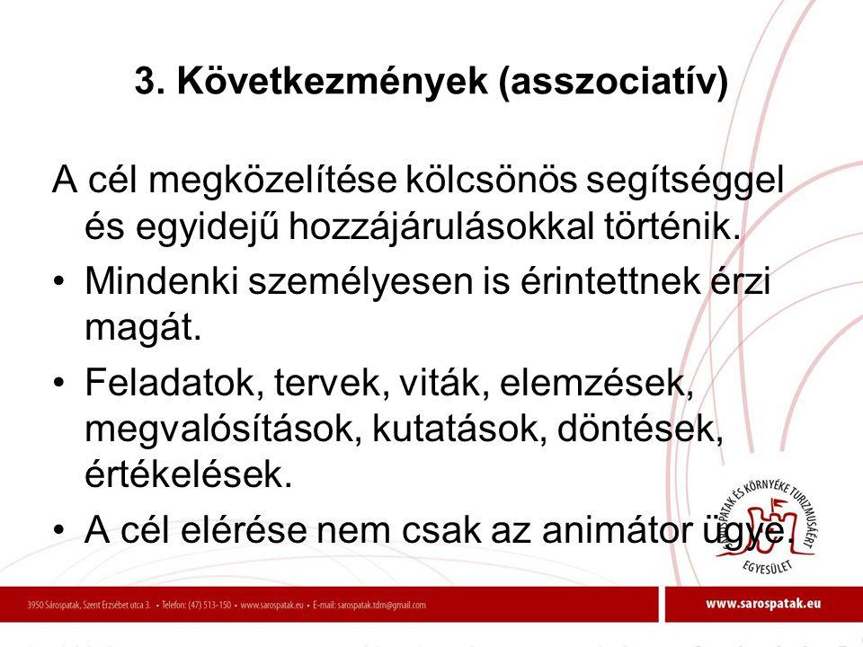 3. Következmények (asszociatív) A cél megközelítése kölcsönös segítséggel és egyidejű hozzájárulásokkal történik. •Mindenki személyesen is érintettnek