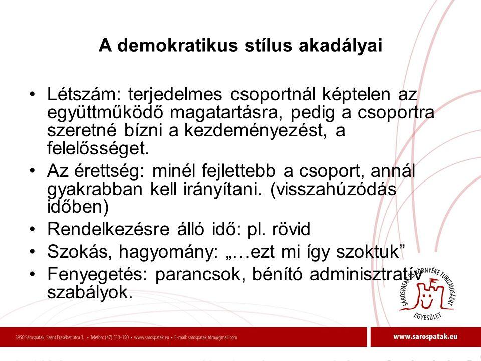 A demokratikus stílus akadályai •Létszám: terjedelmes csoportnál képtelen az együttműködő magatartásra, pedig a csoportra szeretné bízni a kezdeményez