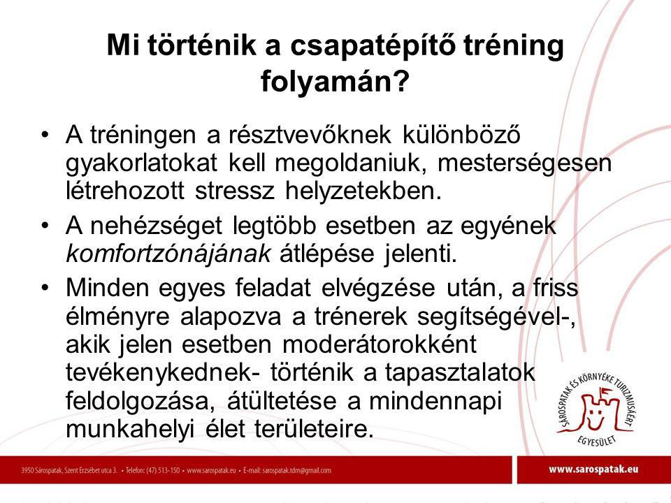 Mi történik a csapatépítő tréning folyamán? •A tréningen a résztvevőknek különböző gyakorlatokat kell megoldaniuk, mesterségesen létrehozott stressz h