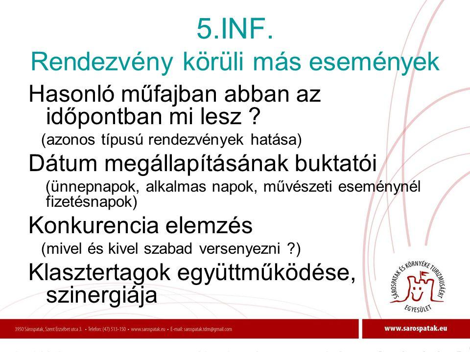 5.INF. Rendezvény körüli más események Hasonló műfajban abban az időpontban mi lesz ? (azonos típusú rendezvények hatása) Dátum megállapításának bukta