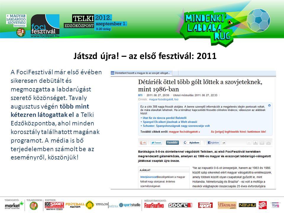 Játszd újra.– az első fesztivál: 2011 2011-ben több hírességet is vendégül láttunk.