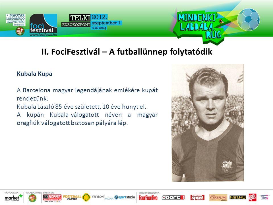 Kubala Kupa A Barcelona magyar legendájának emlékére kupát rendezünk.