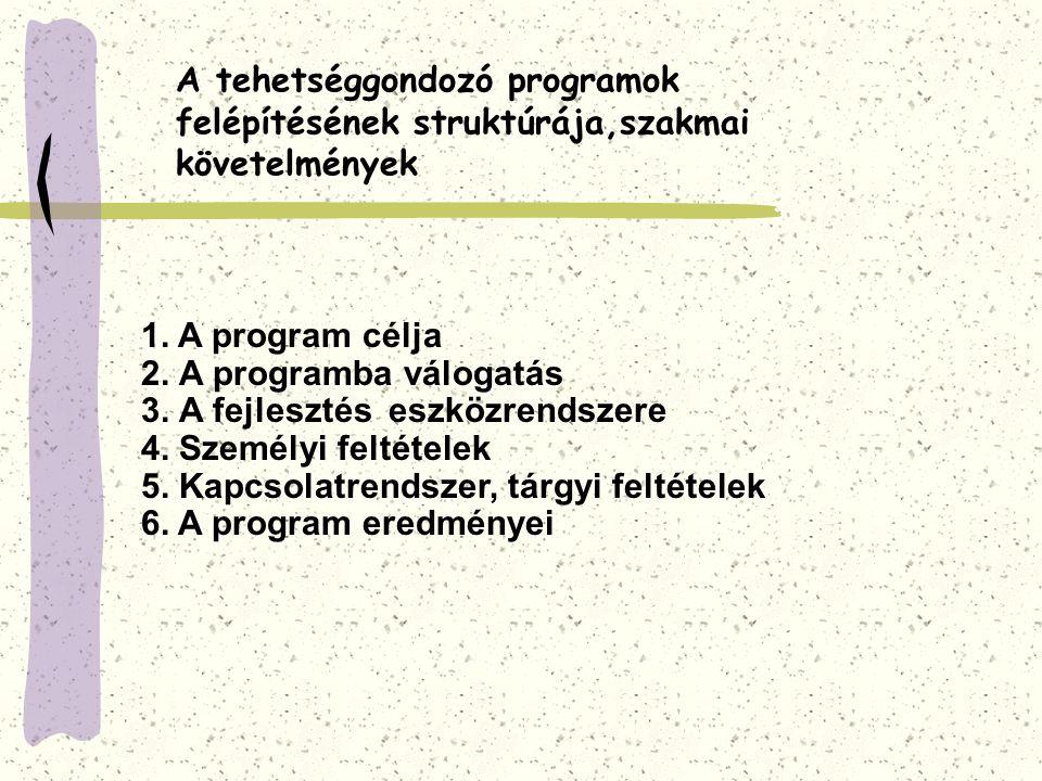 A tehetséggondozó programok felépítésének struktúrája,szakmai követelmények 1. A program célja 2. A programba válogatás 3. A fejlesztés eszközrendszer