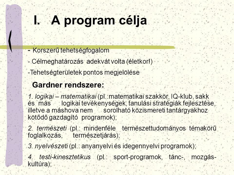 I. A program célja - Korszerű tehetségfogalom - Célmeghatározás adekvát volta (életkor!) -Tehetségterületek pontos megjelölése Gardner rendszere: 1. l