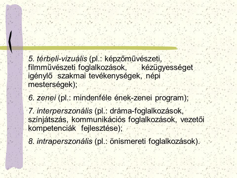 5. térbeli-vizuális (pl.: képzőművészeti, filmművészeti foglalkozások, kézügyességet igénylő szakmai tevékenységek, népi mesterségek); 6. zenei (pl.: