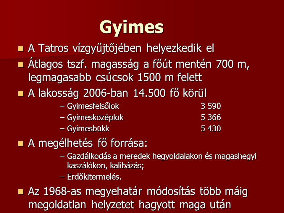Gyimes  A Tatros vízgyűjtőjében helyezkedik el  Átlagos tszf. magasság a főút mentén 700 m, legmagasabb csúcsok 1500 m felett  A lakosság 2006-ban