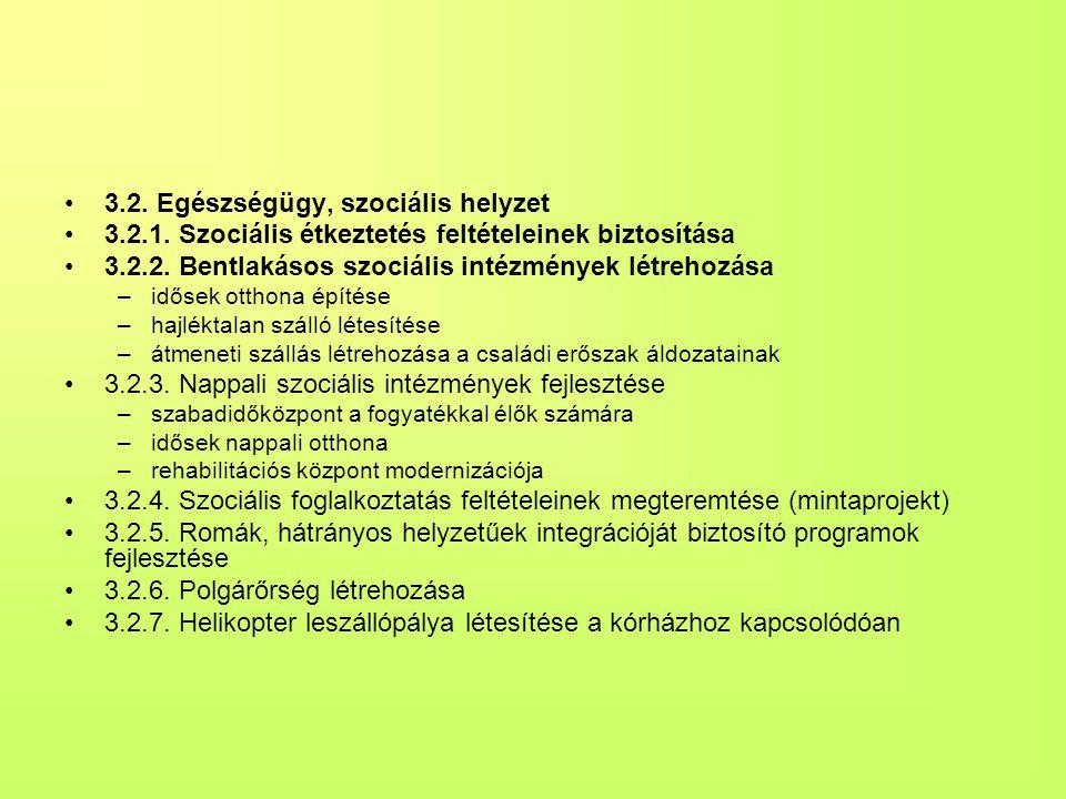 •3.2.Egészségügy, szociális helyzet •3.2.1. Szociális étkeztetés feltételeinek biztosítása •3.2.2.