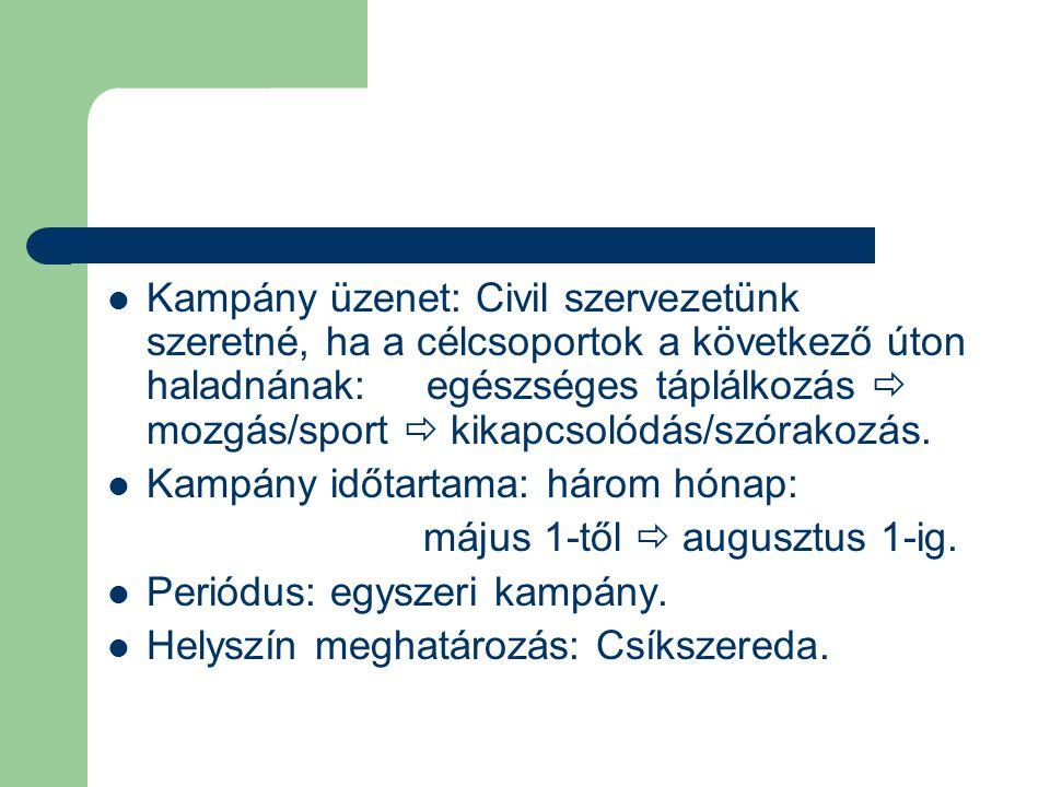  Kampány üzenet: Civil szervezetünk szeretné, ha a célcsoportok a következő úton haladnának: egészséges táplálkozás  mozgás/sport  kikapcsolódás/sz