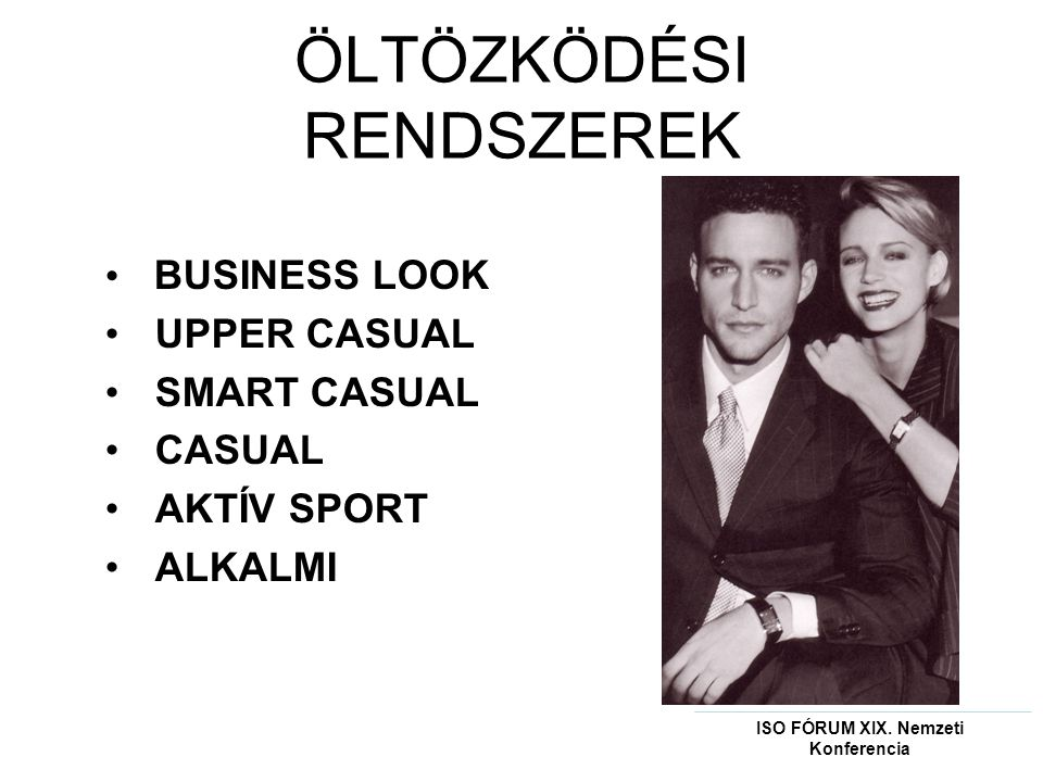 ÖLTÖZKÖDÉSI RENDSZEREK • BUSINESS LOOK • UPPER CASUAL • SMART CASUAL • CASUAL • AKTÍV SPORT • ALKALMI ISO FÓRUM XIX.