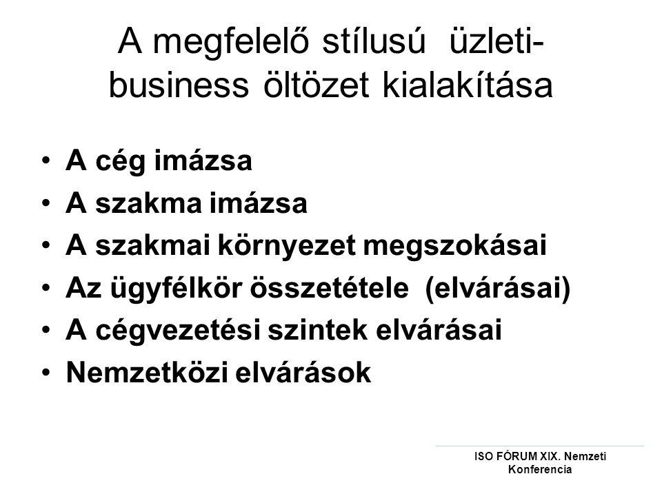 A megfelelő stílusú üzleti- business öltözet kialakítása •A cég imázsa •A szakma imázsa •A szakmai környezet megszokásai •Az ügyfélkör összetétele (elvárásai) •A cégvezetési szintek elvárásai •Nemzetközi elvárások ISO FÓRUM XIX.