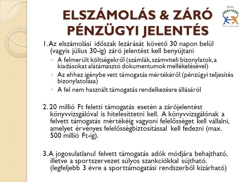 ELSZÁMOLÁS & ZÁRÓ PÉNZÜGYI JELENTÉS 1.