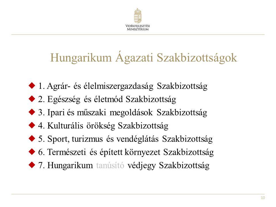 10 Hungarikum Ágazati Szakbizottságok  1. Agrár- és élelmiszergazdaság Szakbizottság  2. Egészség és életmód Szakbizottság  3. Ipari és műszaki meg
