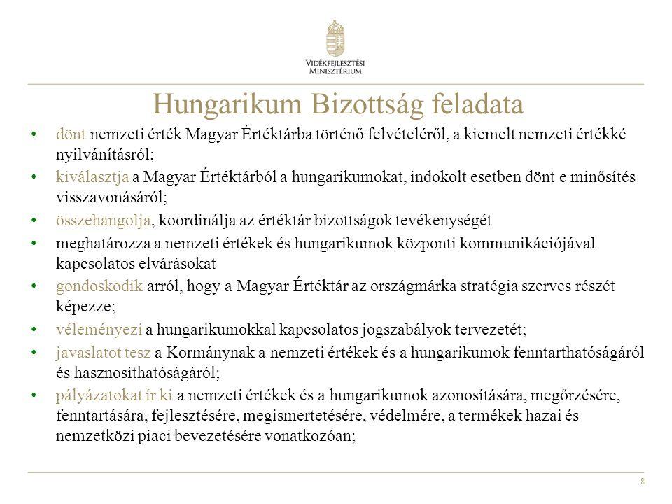 8 Hungarikum Bizottság feladata • dönt nemzeti érték Magyar Értéktárba történő felvételéről, a kiemelt nemzeti értékké nyilvánításról; • kiválasztja a