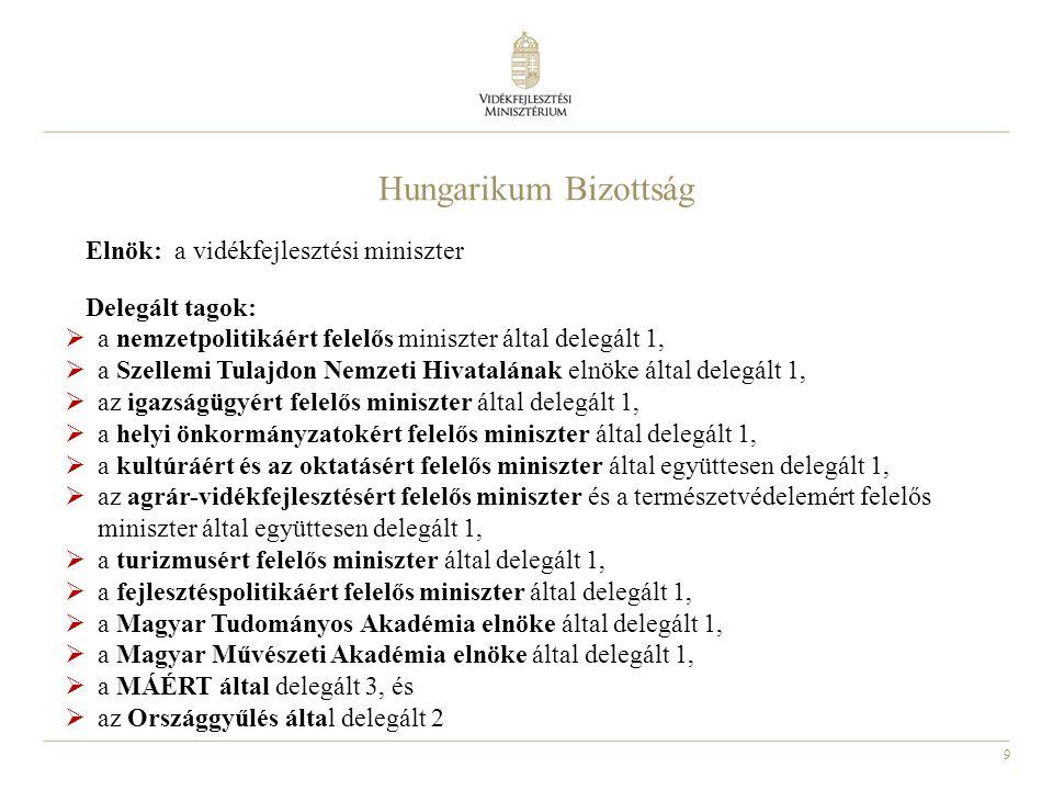 9 Hungarikum Bizottság Elnök: a vidékfejlesztési miniszter Delegált tagok:  a nemzetpolitikáért felelős miniszter által delegált 1,  a Szellemi Tula