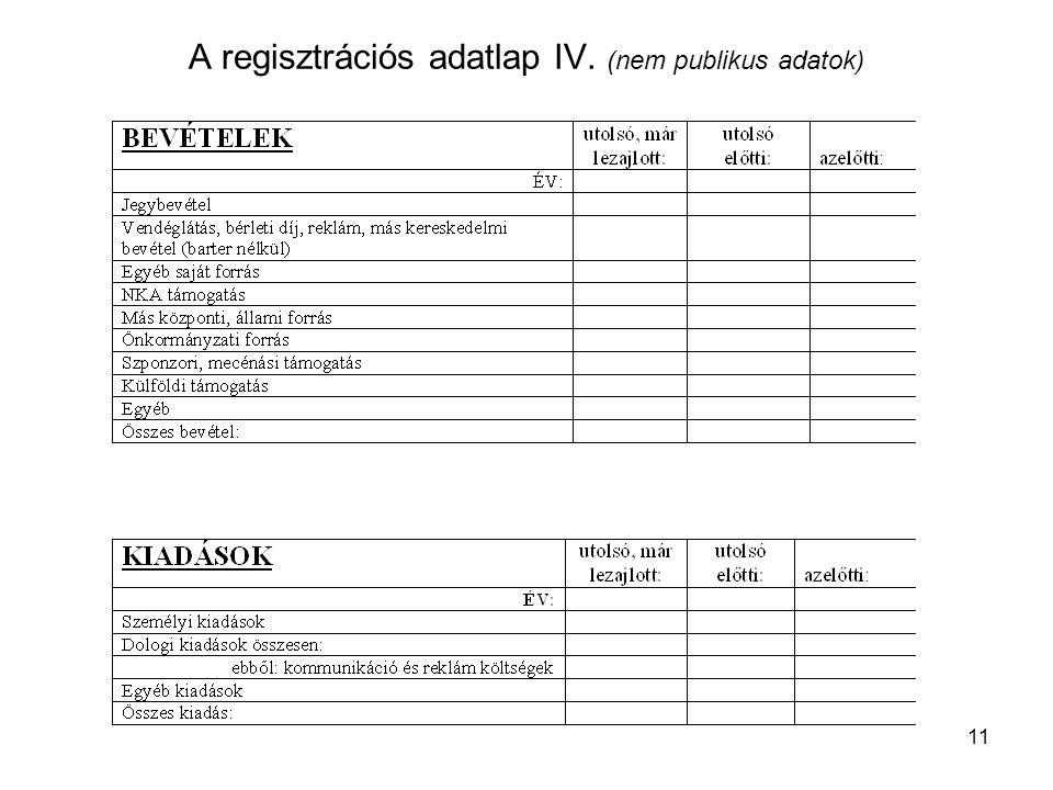 11 A regisztrációs adatlap IV. (nem publikus adatok)