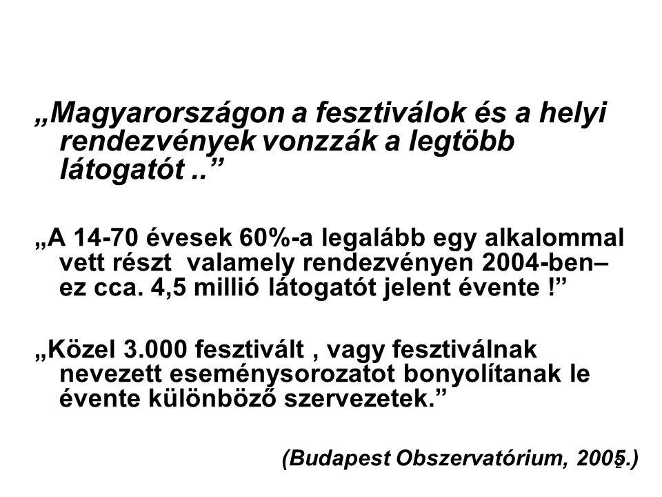 """2 """"Magyarországon a fesztiválok és a helyi rendezvények vonzzák a legtöbb látogatót.."""" """"A 14-70 évesek 60%-a legalább egy alkalommal vett részt valame"""