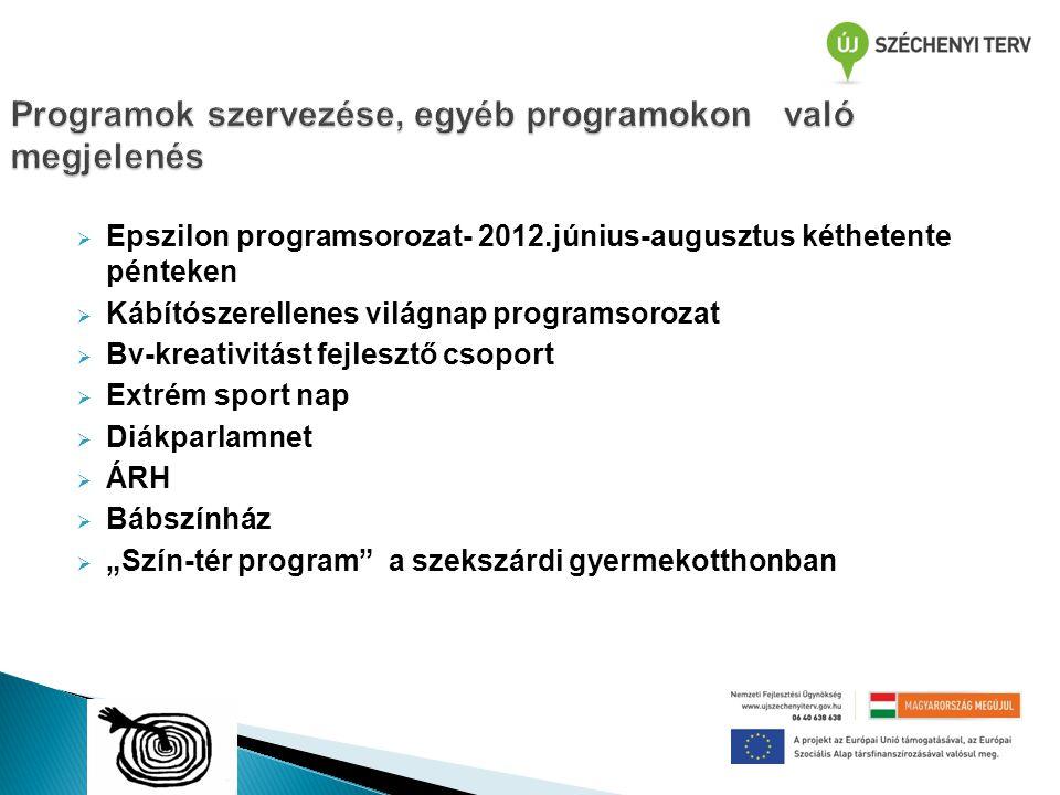  Epszilon programsorozat- 2012.június-augusztus kéthetente pénteken  Kábítószerellenes világnap programsorozat  Bv-kreativitást fejlesztő csoport 