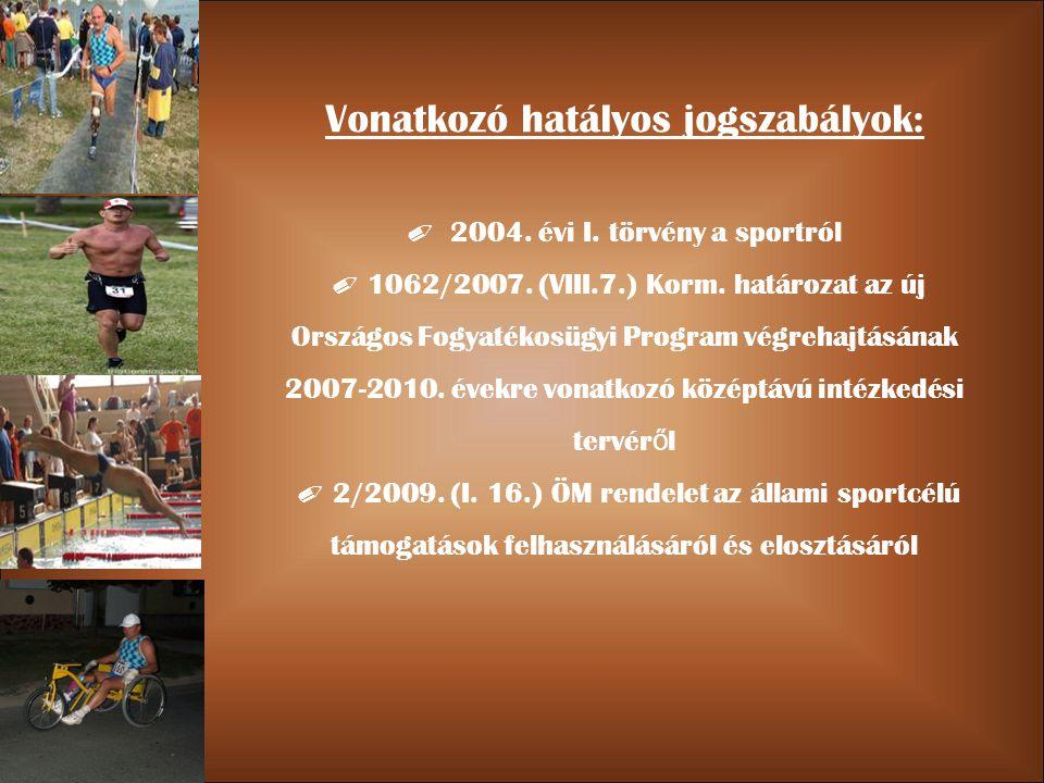 Vonatkozó hatályos jogszabályok: ✐ 2004. évi I. törvény a sportról ✐ 1062/2007.