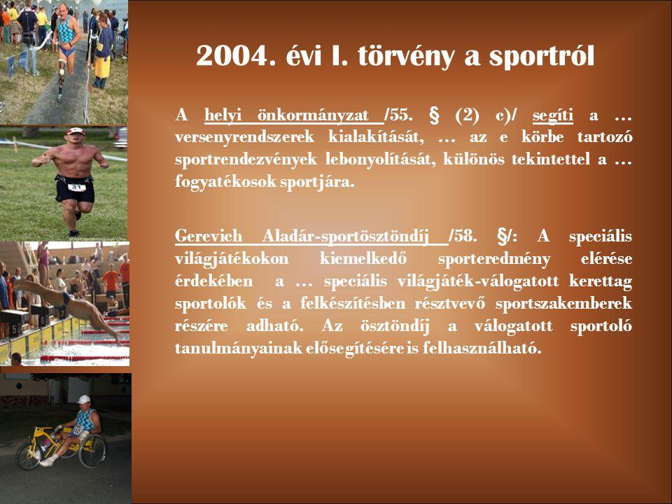 2004. évi I. törvény a sportról A helyi önkormányzat /55.