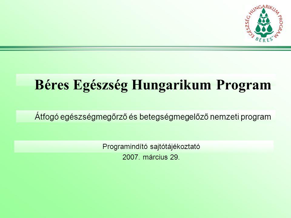 Béres Egészség Hungarikum Program Átfogó egészségmegőrző és betegségmegelőző nemzeti program Programindító sajtótájékoztató 2007. március 29.