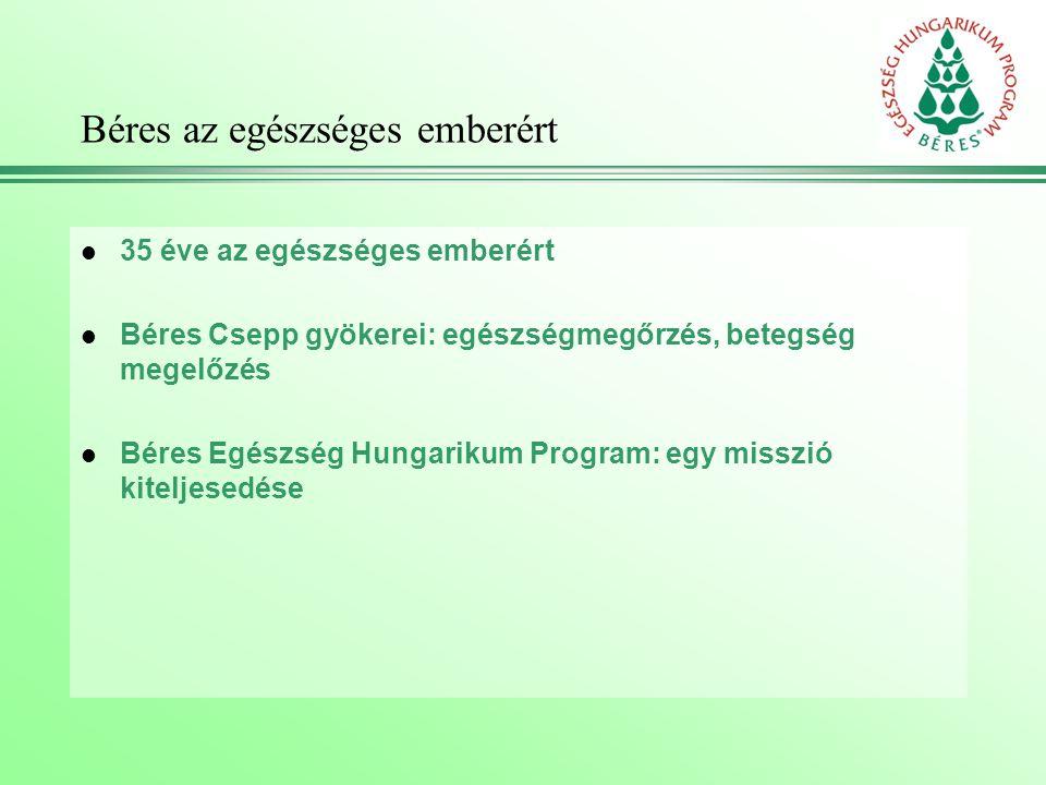 Béres az egészséges emberért l 35 éve az egészséges emberért l Béres Csepp gyökerei: egészségmegőrzés, betegség megelőzés l Béres Egészség Hungarikum Program: egy misszió kiteljesedése