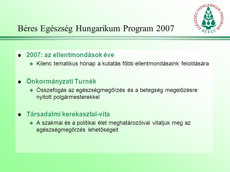 Béres Egészség Hungarikum Program 2007 l 2007: az ellentmondások éve u Kilenc tematikus hónap a kutatás főbb ellentmondásaink feloldására l Önkormányzati Turnék u Összefogás az egészségmegőrzés és a betegség megelőzésre nyitott polgármesterekkel l Társadalmi kerekasztal-vita u A szakmai és a politikai élet meghatározóival vitatjuk meg az egészségmegőrzés lehetőségeit