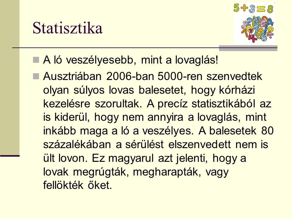Statisztika  A ló veszélyesebb, mint a lovaglás!  Ausztriában 2006-ban 5000-ren szenvedtek olyan súlyos lovas balesetet, hogy kórházi kezelésre szor