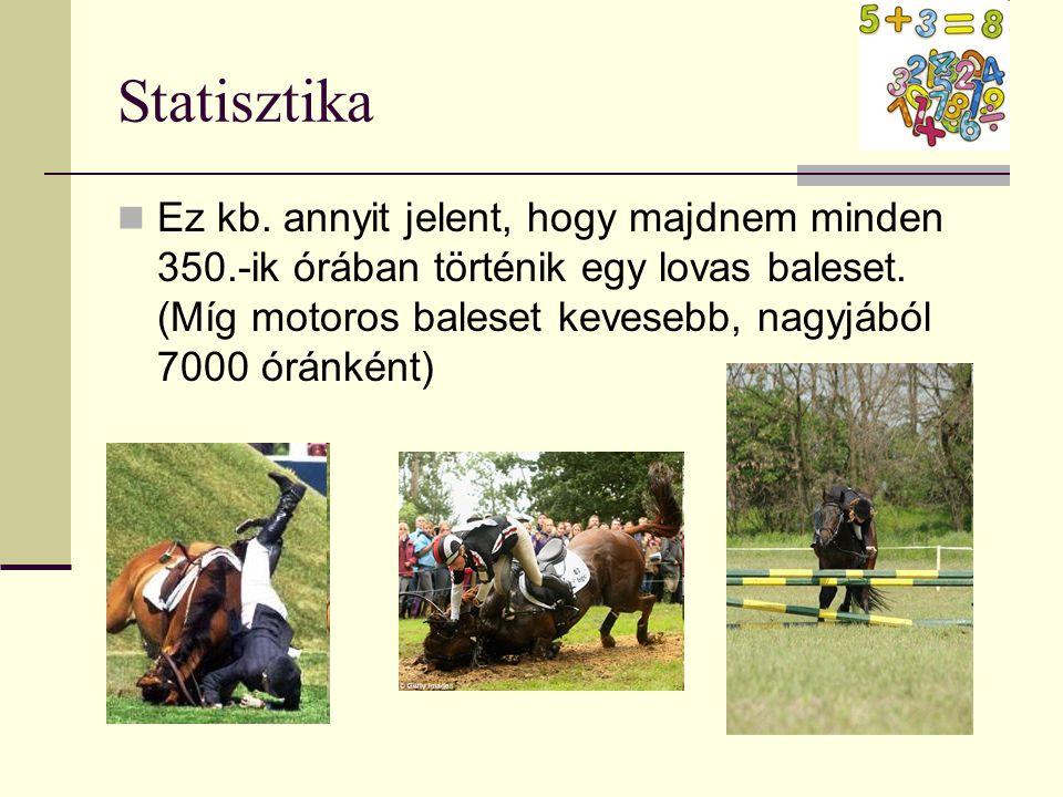 Statisztika  Ez kb. annyit jelent, hogy majdnem minden 350.-ik órában történik egy lovas baleset. (Míg motoros baleset kevesebb, nagyjából 7000 óránk