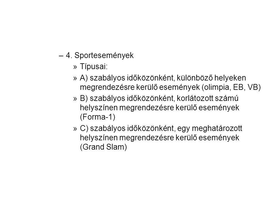–4. Sportesemények »Típusai: »A) szabályos időközönként, különböző helyeken megrendezésre kerülő események (olimpia, EB, VB) »B) szabályos időközönkén