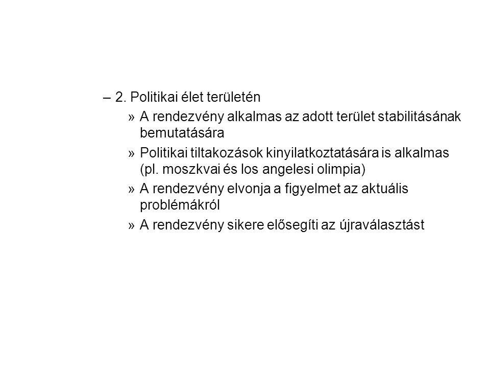 –2. Politikai élet területén »A rendezvény alkalmas az adott terület stabilitásának bemutatására »Politikai tiltakozások kinyilatkoztatására is alkalm