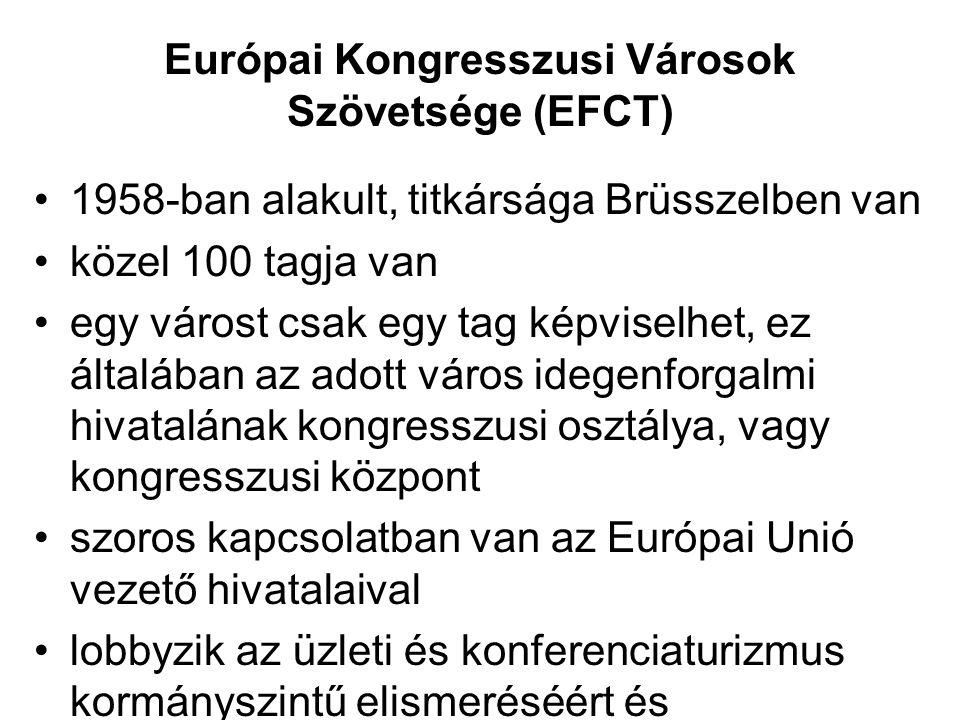 Európai Kongresszusi Városok Szövetsége (EFCT) •1958-ban alakult, titkársága Brüsszelben van •közel 100 tagja van •egy várost csak egy tag képviselhet