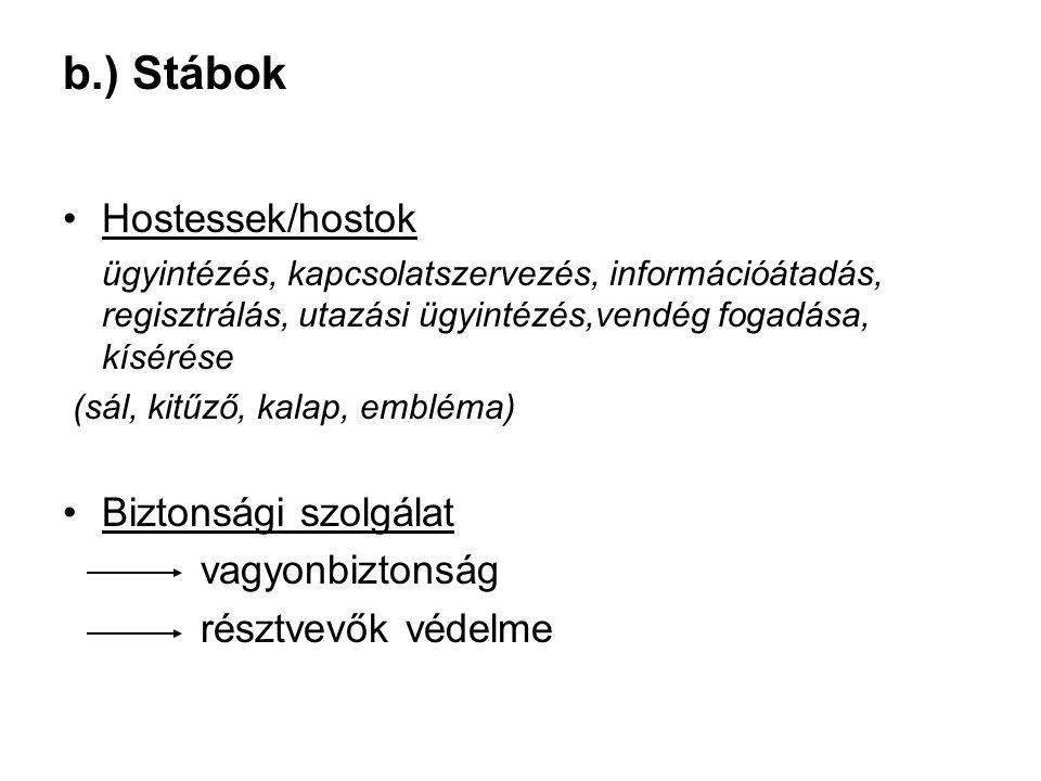 b.) Stábok •Hostessek/hostok ügyintézés, kapcsolatszervezés, információátadás, regisztrálás, utazási ügyintézés,vendég fogadása, kísérése (sál, kitűző
