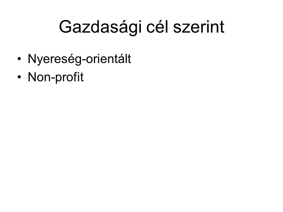 Gazdasági cél szerint •Nyereség-orientált •Non-profit
