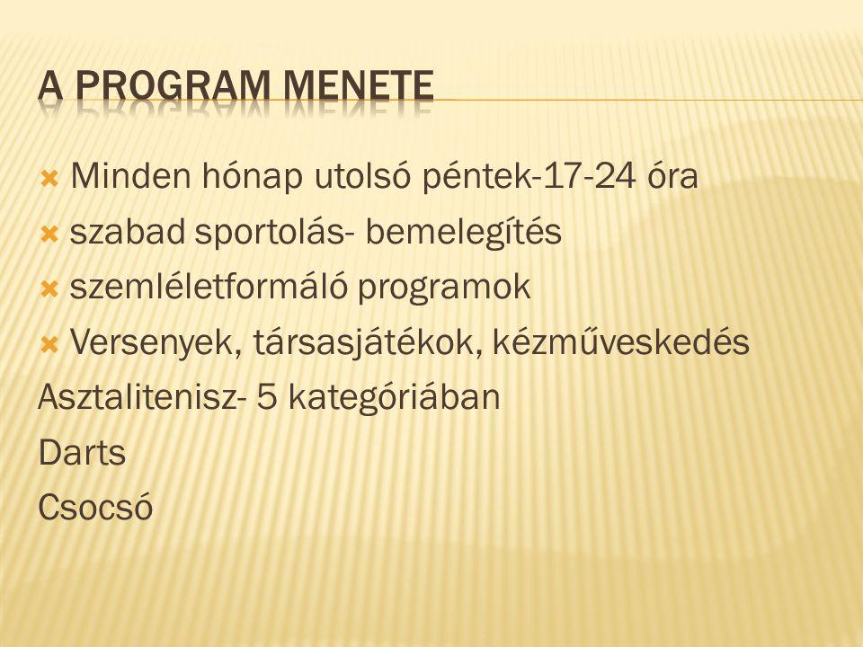  Minden hónap utolsó péntek-17-24 óra  szabad sportolás- bemelegítés  szemléletformáló programok  Versenyek, társasjátékok, kézműveskedés Asztalitenisz- 5 kategóriában Darts Csocsó
