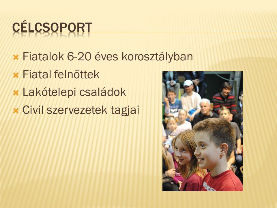 Fiatalok 6-20 éves korosztályban  Fiatal felnőttek  Lakótelepi családok  Civil szervezetek tagjai