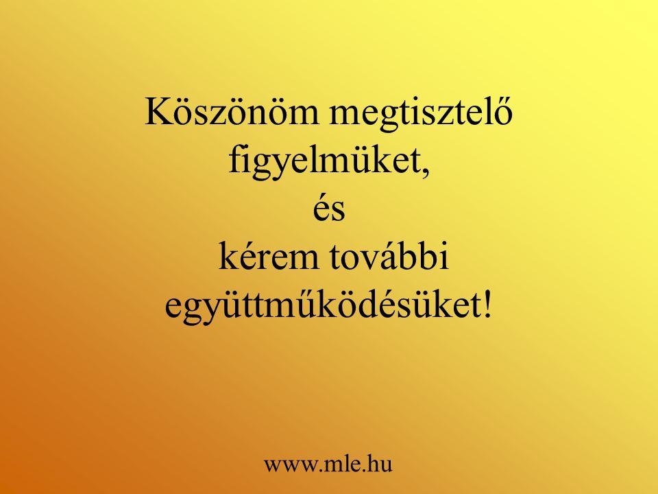 Köszönöm megtisztelő figyelmüket, és kérem további együttműködésüket! www.mle.hu