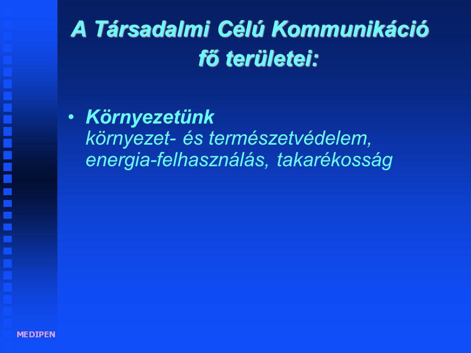 A Társadalmi Célú Kommunikáció fő területei: •Környezetünk környezet- és természetvédelem, energia-felhasználás, takarékosság