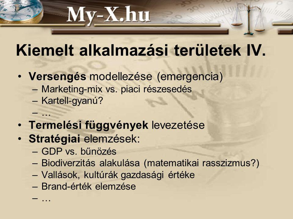 INNOCSEKK 156/2006 Kiemelt alkalmazási területek IV. •Versengés modellezése (emergencia) –Marketing-mix vs. piaci részesedés –Kartell-gyanú? –… •Terme